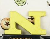 Vintage letter N pub sign, 24 carat gold leaf, shop front antique signage industrial