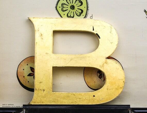 Antique letter B pub sign, 24 carat gold leaf, shop front antique signage industrial