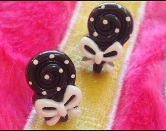 Polka Dot Earrings, Plastic Earrings, Cute Earrings, Black, White, Bow,  Handmade by GirlyBe