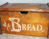 Vintage Wooden Bread Box with Wheat (SALE 10% off enter openfields10 at checkout)