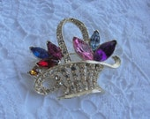 Vintage Brooch/ Estate Jewelry/ Vintage Pin/ Rhinestones/ Basket of Jeweled Flowers Rhinestones