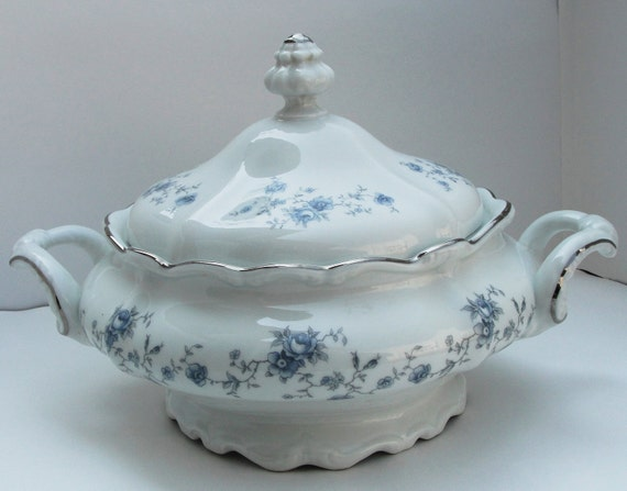 Tureen Vegetable Tureen Johann Haviland with Blue Flowers and Silver Trim  Make an Offer