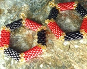 Hexagon Hoop Earrings in Red, Black, and Gold seed Beads