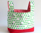 Easter SALE  toy storage fabric basket storage bin organizer diaper holder container in red and green LADYBUGS