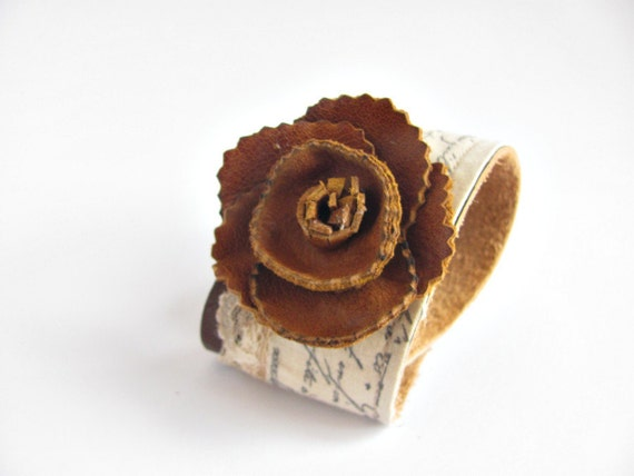 Brown  Leather cuff bracelet wrist band with hand tooled leather flower and tea dyed french inspired trim and lace