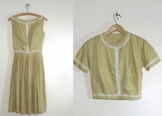 Vintage day dress mad men two piece pale celery beige Vicky Vaughn 50s dress mid century small