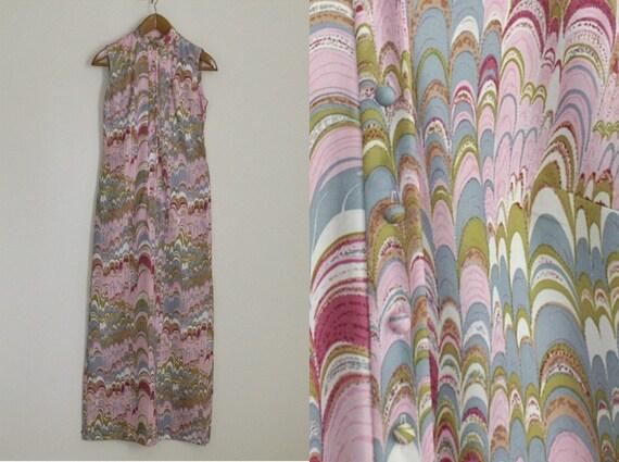 1960s vintage maxi dress Leslie Fay bohemian pop art print dress pink small