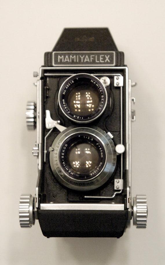 Vintage camera Mamiyaflex C2 film camera mid century 1950s camera with lens