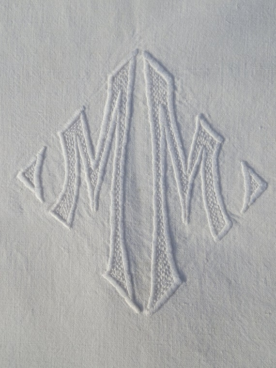 Reduced by 20%  French Vintage Hand Embroidered Cotton Sheet - Monogram 'MM'