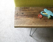 modern reclaimed elemental wood bench with hairpin legs, vintage upcycled industrial