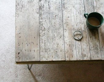 modern industrial wood coffee table, from reclaimed old growth wood and steel hairpin legs XL