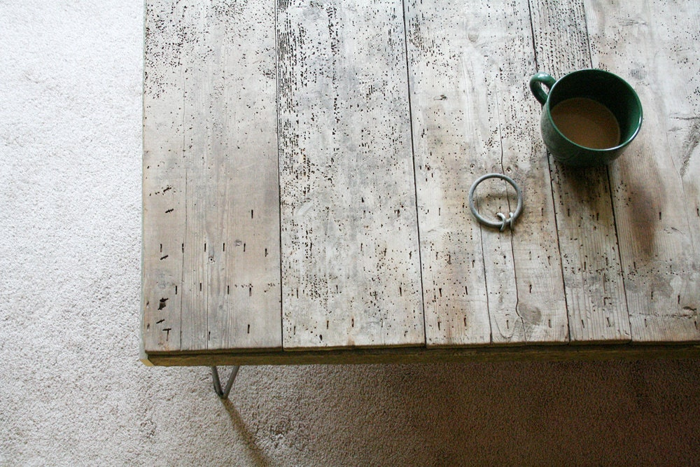 modern industrial wood coffee table from reclaimed old growth