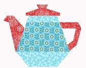 Tea Pot quilt block, paper pieced quilt pattern, PDF pattern, instant download, paper pieced quilt block pattern PDF