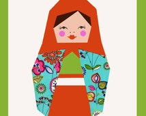 Matryoshka quilt block, paper pieced quilt pattern, PDF pattern, instant download, matryoshka pattern, doll quilt pattern