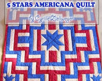 Easy Quilt Pattern PDF, 5 Stars Americana Patriotic quilt
