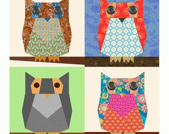 Owl paper pieced quilt block pattern PDF