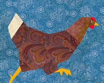 Chicken run quilt block, paper pieced quilt pattern, PDF pattern, instant download, paper pieced quilt block pattern, hen pattern