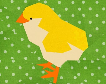 Easter Chick quilt block, paper pieced quilt pattern, PDF pattern, instant download, chick pattern