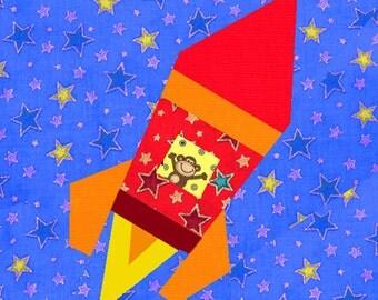 Rocket ship paper pieced quilt block pattern PDF