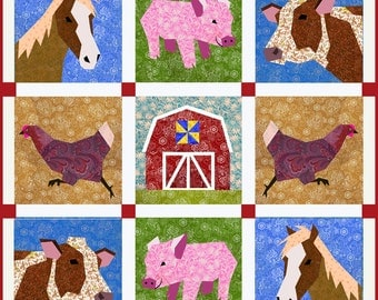 Farm quilt pattern, Set of 5 paper pieced quilt blocks pattern, PDF pattern, instant download
