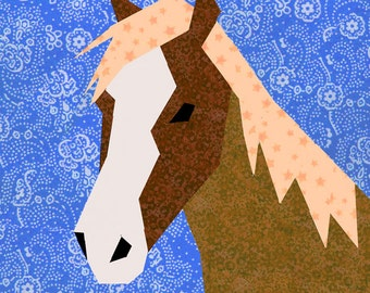 Horse quilt block, paper pieced quilt pattern, PDF pattern, instant download, horse pattern, horse block