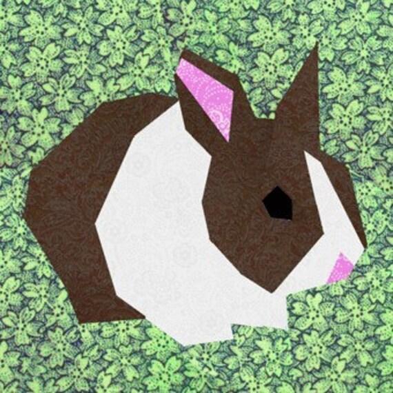 Rabbit Quilt Block Paper Pieced Quilt Pattern Pdf