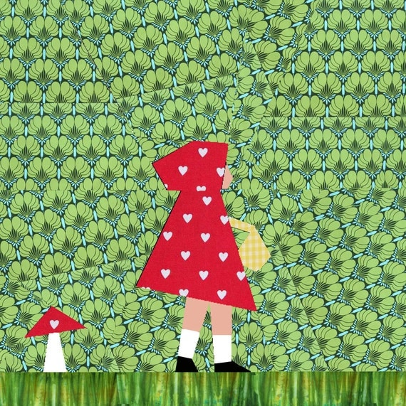 Little Red Riding Hood quilt block, paper pieced quilt pattern, PDF pattern, instant download