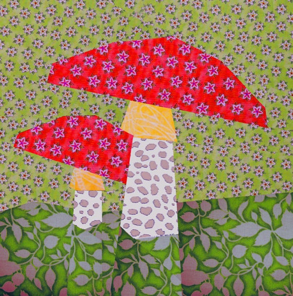 Mushroom Paper Pieced Quilt Block Pattern PDF by BubbleStitch