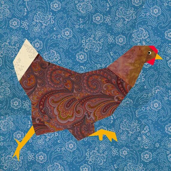Chicken Run Paper Pieced Quilt Block Pattern Pdf By
