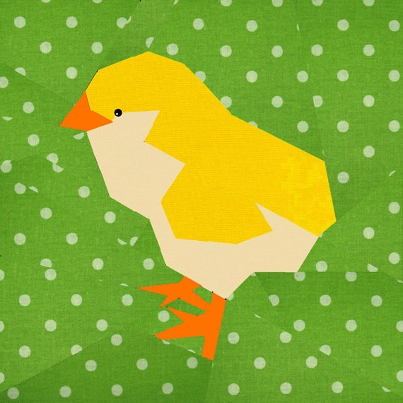 Easter Chick quilt block, paper pieced quilt pattern, PDF pattern ...