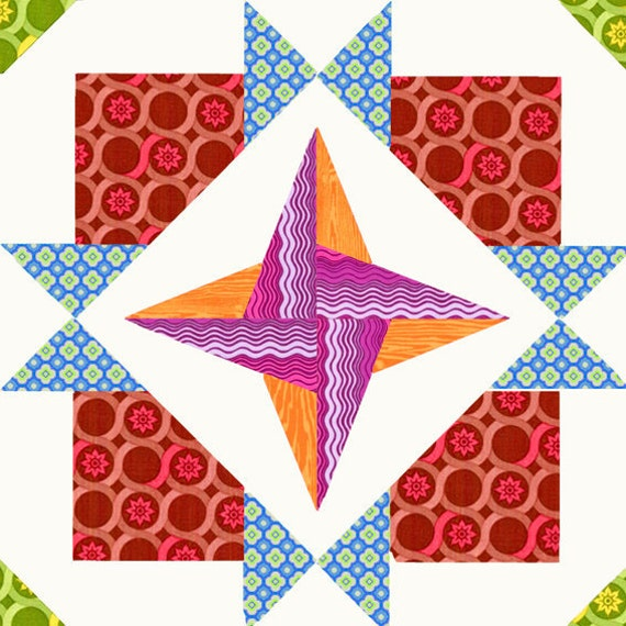 Cross Star quilt block, paper pieced quilt pattern, PDF pattern, instant download
