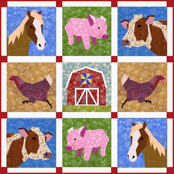 Farm quilt pattern, Set of 5 paper pieced quilt blocks pattern, PDF pattern, instant download