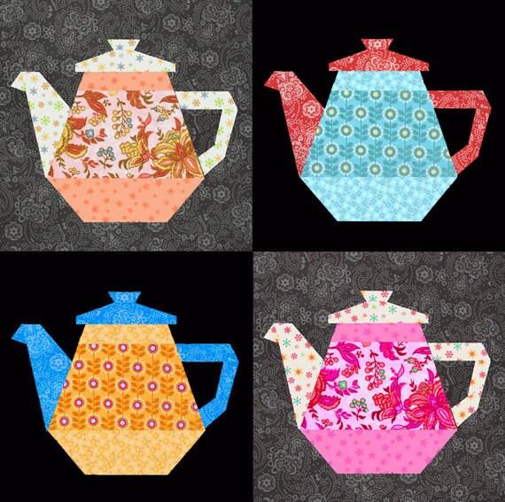 Tea Pot Paper Pieced Quilt Block Pattern Pdf By Bubblestitch