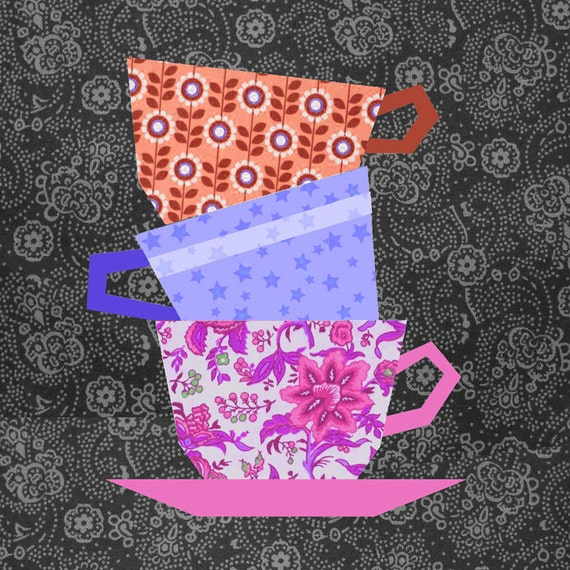 Cups Stacking Quilt Block Paper Pieced Quilt Pattern Pdf