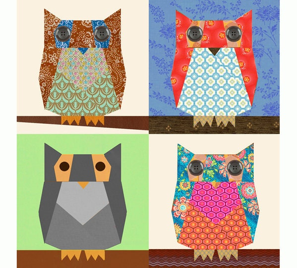 Free Quilt Pattern For Owls : Owl paper pieced quilt block pattern PDF