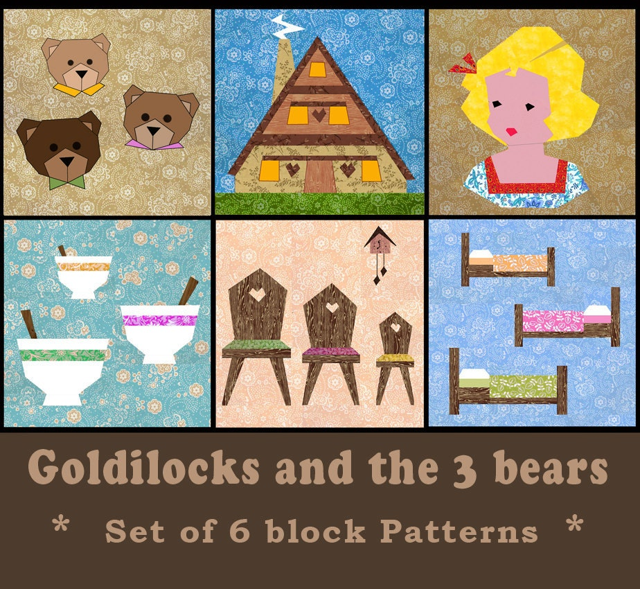 Goldilocks And The 3 Bears Set Of 6 Paper Pieced Quilt