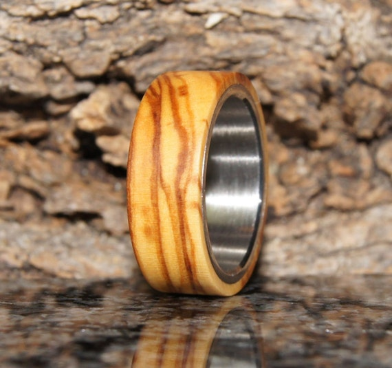 Wooden Ring Size 9 - olive wood and stainless steel ring