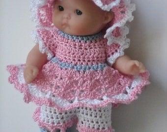 Crochet pattern for Berenguer 5 inch baby doll dress set
