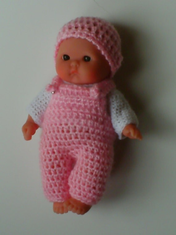 Crochet Pattern Baby Dungarees : Crochet pattern for Berenguer 5 inch baby dungarees jumper