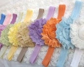 3 Vintage Headbands Shabby Rosette Frayed Vintage Hair Clips or Headbands Shabby Chic for Baby Toddler Girl