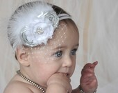 Baptism Baby Headband Christening Flower Girl Wedding Fascinator in Silver and White Photo Prop Birthday Girl