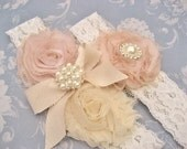 Bridal Garter,  Lace Garter, Heirloom Rose, Wedding Garter, Toss Garter Heirloom Rose and Tea Stained Ivory with Rhinestones and Pearls