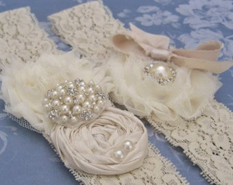 Lace Garter Wedding Garter / Vintage Bridal Garter Set Toss Garter included  Ivory with Rhinestones and Pearls  Custom Wedding colors