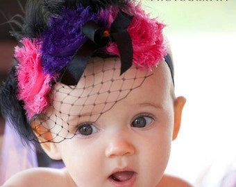 Halloween Baby Birdcage Headband Bubblegum Rose Shabby Rosette Frayed Vivid Colors Baby Hairband Clip Shabby Chic