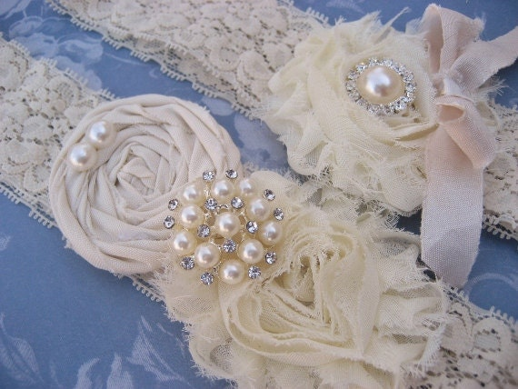 Vintage Bridal Garter Wedding Garter Set Toss Garter included  Ivory with Rhinestones and Pearls  Custom Wedding colors