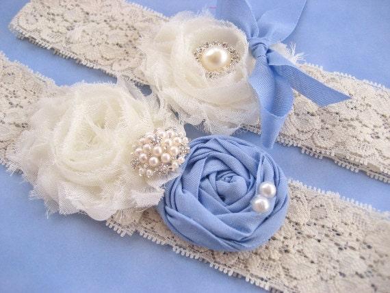 Something Blue Bridal Garter Set Vintage Wedding Toss Garter too Periwinkle Blue and Ivory with Rhinestones  Pearls  Custom Wedding colors