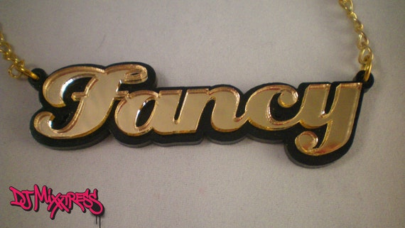 Fancy Gold Mirror Nameplate Necklace