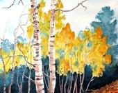 "Aspen Eyes - a colorful Fall scene of Colorado Aspen trees. A decorative CERAMIC TILE wall  art  - 10"" x 8"".  Free U.S. shipping."