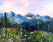 """A functional  GLASS TRIVET. Beautiful, impressionistic Colorado mountain scene. From Copper Mountain. 8"""" x 11"""".  Free U.S. shipping."""