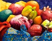 "GLASS TRIVET - functional, colorful kitchen art. Market Basket 4 - Hand. -  8""x 11"".  Free U.S. shipping."
